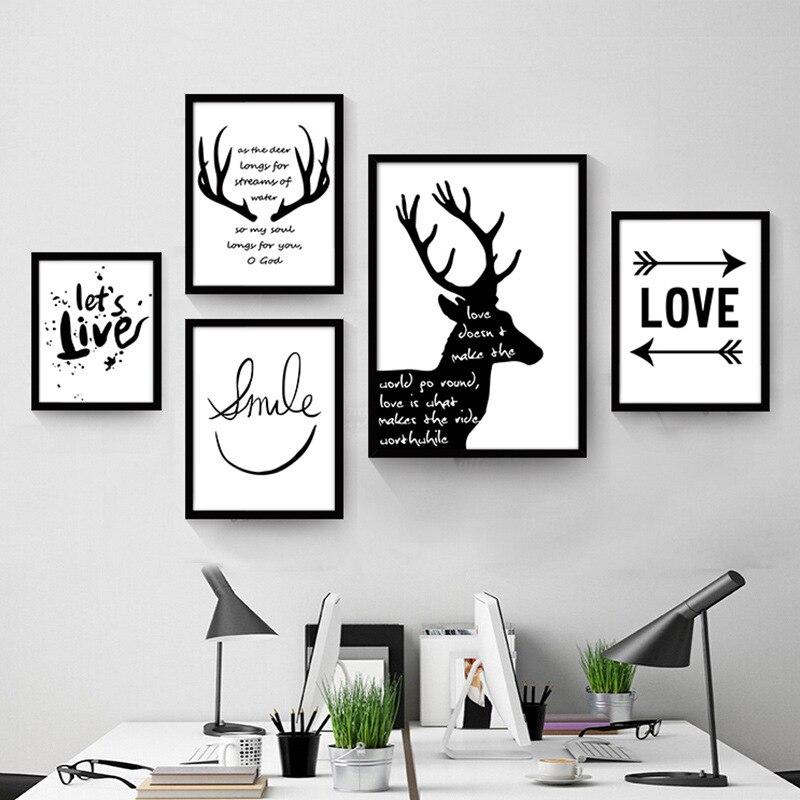 Геометрическая абстракция декоративная mordern Картина гостиной спальни росписи черно-белая картина креативных английских слов