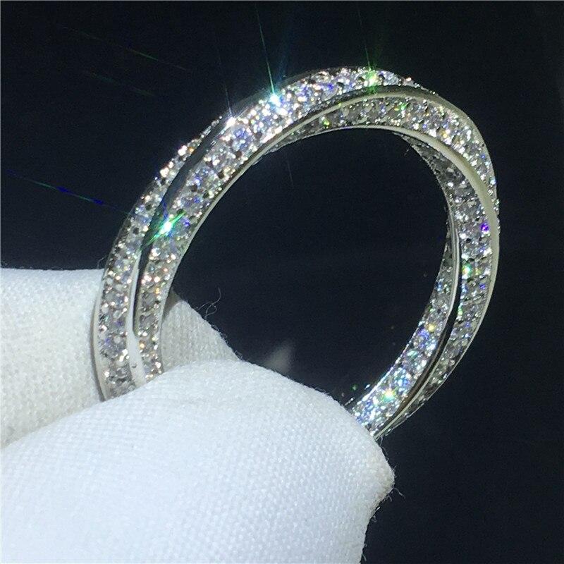 Anel de Arame desenho choucong Real 925 sterling Silver AAAAA cz Pedra Anéis de Casamento Banda de Noivado Para As Mulheres homens Jóias Dedo