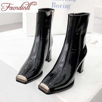 FACNDINLL 2019 new arrival women ankle boots shoes real patent leather sexy high heels square toe zipper autumn winter boots