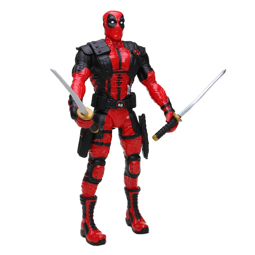 New 33cm Marvel Toys Deadpool Figure Bobble-Head 1/10 Scale Painted Wade Winston Wilson Superhero Collectible Model Dolls Toy