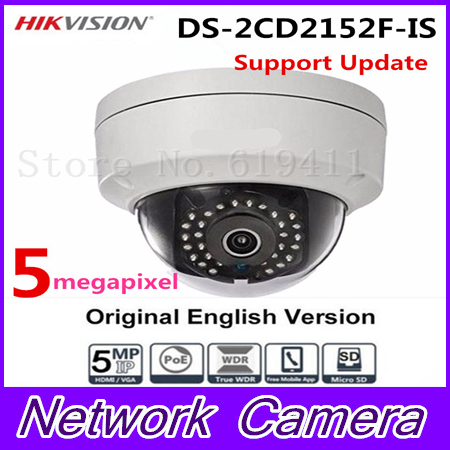 In Stock Hikvision Overseas CCTV Camera DS-2CD2152F-IS 5MP CMOS Dome Network PoE IP Camera Security IP Camera 1080P Full HD 16pcs lot hikvision ds 2cd2735f is ip camera 3mp full hd ip66 dome camera water proof poe power network ir