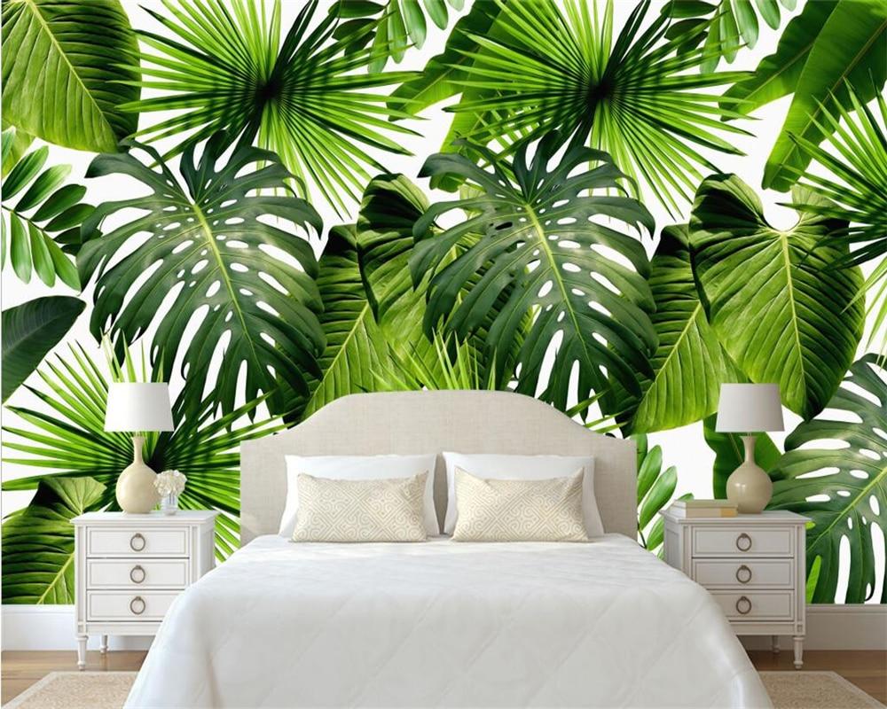beibehang modern home decoration wallpaper fresh rain forest plant banana leaves pastoral mural. Black Bedroom Furniture Sets. Home Design Ideas