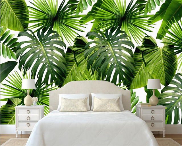 beibehang moderne d coration de la maison papier peint frais for t tropicale plante banane. Black Bedroom Furniture Sets. Home Design Ideas