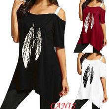 Women One Shoulder Summer Blouse Tops Leaves Print Short Sleeve Loose Casual Tank Top Shirt