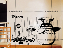 Japanese Cartoon Totoro Chinchilla wall stickers Totoro Bus Station Mural Art Wall Decal Kid's Room Bedroom Home Decoration