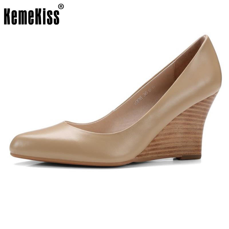 KemeKiss Size 34-39 Ladies  Real Leather High Heels Wedges Pumps Women Pointed Toe Slip On Shallow Shoes Women Office Footwear ladies real leather pumps shoes women pointed toe cross strap gladiator shoes fiork nude color sexy female footwear size 34 40