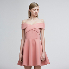 2017 Summer Women Clothes Strapless Solid Cross Slit Sexy Off-shoulder Casual One-piece Dress 3 Colors Pink/white/black