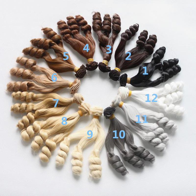 Steady Hot Selling 1/3 1/4 Sd Bjd Doll Wig Hair Row Modification High Temperature Silk Diy Screw Hair Curly Dark Wig Doll Accessories Wide Selection; Dolls & Stuffed Toys
