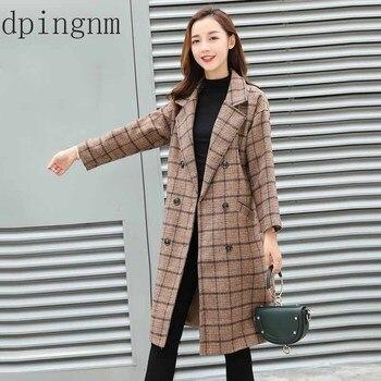 a4ea79a2640 Europea Otoño Invierno mujeres lana mezclas abrigo a cuadros Femal grueso  da vuelta-abajo a
