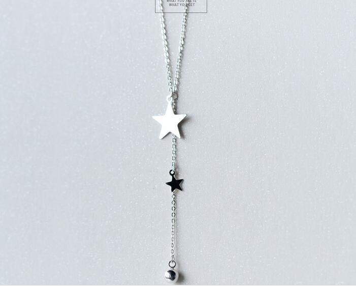 Real. 925 Sterling Silver Jewelry Lariat Naszyjnik z Double Star i - Wykwintna biżuteria - Zdjęcie 1