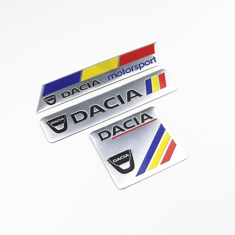 3pcs Car Decoration Stickers Logo 3D Aluminium Emblem Badge Decal For Dacia Lodgy 2 Mcv Sandero Duster Logan Sandero