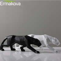 ERMAKOVA 19 pouces Statue léopard moderne abstraite Style géométrique résine panthère Sculpture Animal Figurine maison bureau décoration