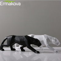 ERMAKOVA Large Size Leopard Statue Animal Figurine Modern Abstract Geometric Style Resin Panther Sculpture Home Office Decor