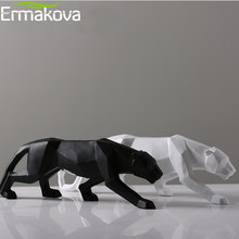 ERMAKOVA Leopard Statue Large Size Modern Abstract Geometric Style Resin Panther Sculpture Animal Figurine Home Office Decor(China)