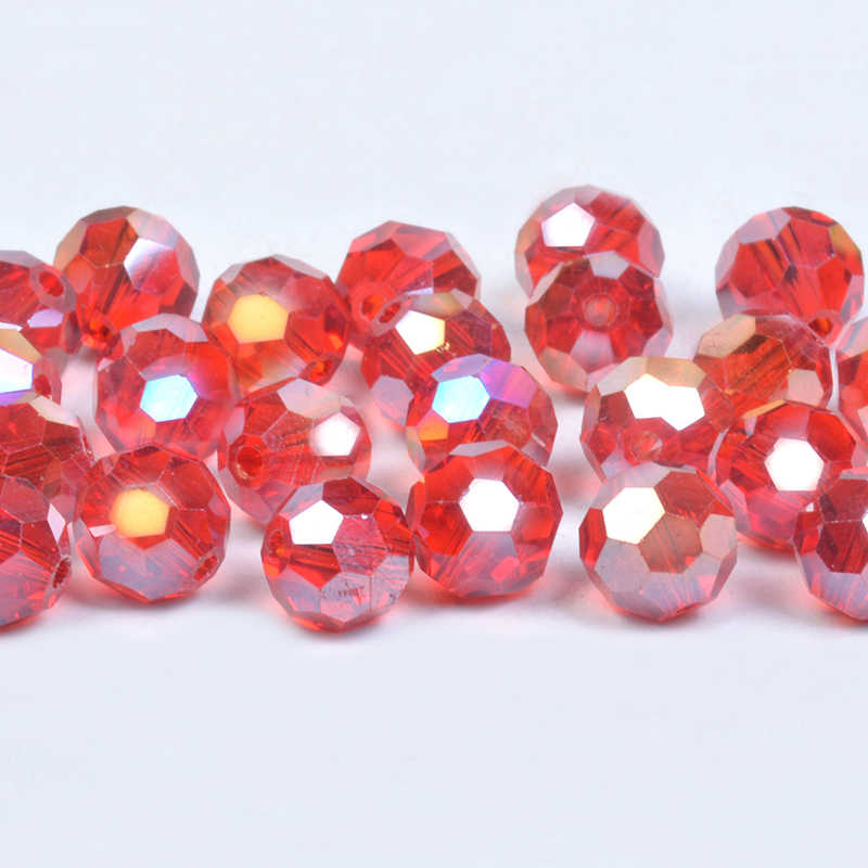 200pcs 3mm Round 32 Facets Crystal Glass Loose Beads Wholesale Lihgt Rose