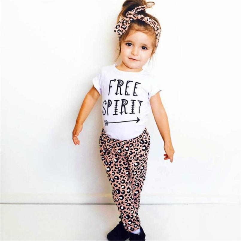 3Pcs Baby girls clothes Set Letter Print T Shirt Tops Leopard Pants Headbands Outfits summer Kids' things High quality cotton 2pcs children outfit clothes kids baby girl off shoulder cotton ruffled sleeve tops striped t shirt blue denim jeans sunsuit set