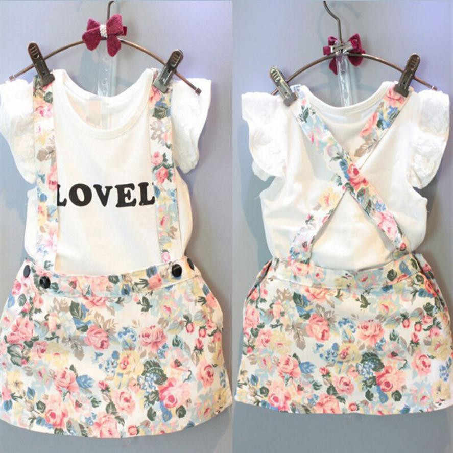 2PCS Casual Newborn Girl Boys Clothes Sets Kids Baby Girl Tops T-shirt+Skirt Overalls Strap Skirt Outfits Set Clothes