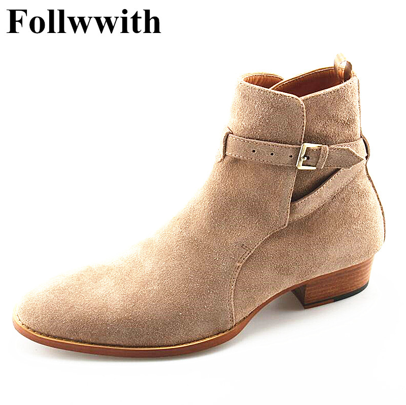 New Fashion Brown Cow Suede Ankle Buckle Strappy Men Ankle Boots Flats Luxury Design Motorcycle boots Men Shoes