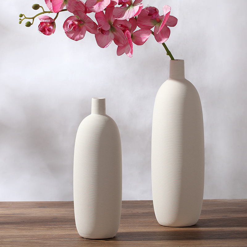 Cute White Small Mouth Ceramic Creative Contracted Flower Vase Home Decor Craft Room Decoration Handicraft Porcelain Figurine In Vases From Garden On
