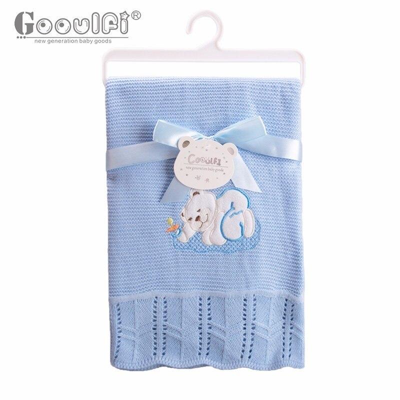GOOULFI crochet baby blanket baby children blanket blue Knitting baby shawls acrylic baby blankets newborn for boys soft 2017