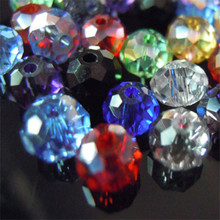Isywaka 1mm,2mm,3*4mm,4*6mm,6*8mm,8*10mm,10*12mm Austria faceted Crystal Glass Beads Loose Spacer Round Beads for Jewelry Making