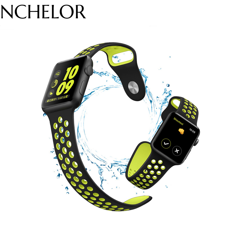 Smart Accessories Apple wristwatch strap Breathable Silicone Sports Band for apple Sport Rubber Watchband iWatch band iwatch jansin 22mm watchband for garmin fenix 5 easy fit silicone replacement band sports silicone wristband for forerunner 935 gps