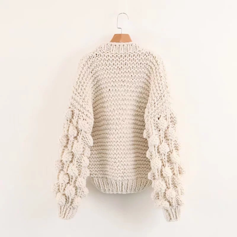 Molif Winter Coarse Wool Hand-Knit Sweater Women V-Neck Wind Rough Wool Knitted Lantern Sleeved Cardigan