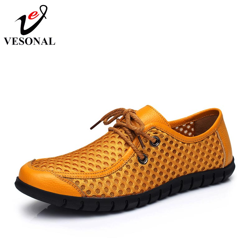 VESONAL 2018 Summer Genuine Leather Breathable Light Soft Male Mesh Shoes For Men Casual Driving Walking Quality Footwear Adult vesonal 2017 quality mocassin male brand genuine leather casual shoes men loafers breathable ons soft walking boat man footwear