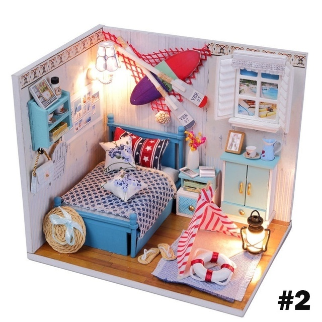 Kits Diy Wood Dollhouse Bed Miniature With Light Furniture Cover
