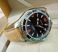 Cristal de safira 45mm parnis japonês 21 jóias automático auto-vento movimento mecânico cerâmica bezel 5atm relógios masculinos 1