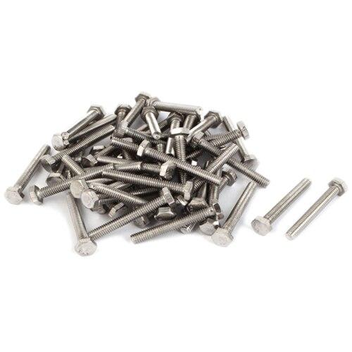 M5 Stainless Steel Hexagon Head Fully Threaded Set Screws,M5*35mm 50PCS niko 50pcs chrome single coil pickup screws