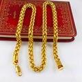 АЗИЗ BEKKAOUI Высокое качество 24 К позолоченные ожерелье длинной цепью длиной 60 см шириной 8 мм тяжелая золотая цепь мужская мода ожерелье