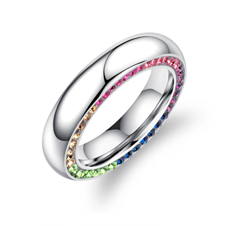 2019 Nouveau Simple anneau Titane acier lisse côté anneau Cristal de Swarovski Pour Les Femmes Mode Bijoux De Mariage Anneau