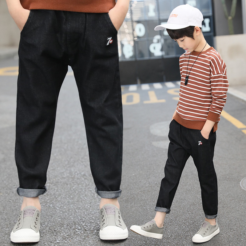 Black Jeans For Boy 2018 Autumn Toddler Jeans Elastic Waist Casual Kids Jeans Trousers Back To School Pant 5 6 7 8 9 10 11 12 13 boyfriend jeans women pencil pants trousers ladies casual stretch skinny jeans female mid waist elastic holes pant fashion 2016