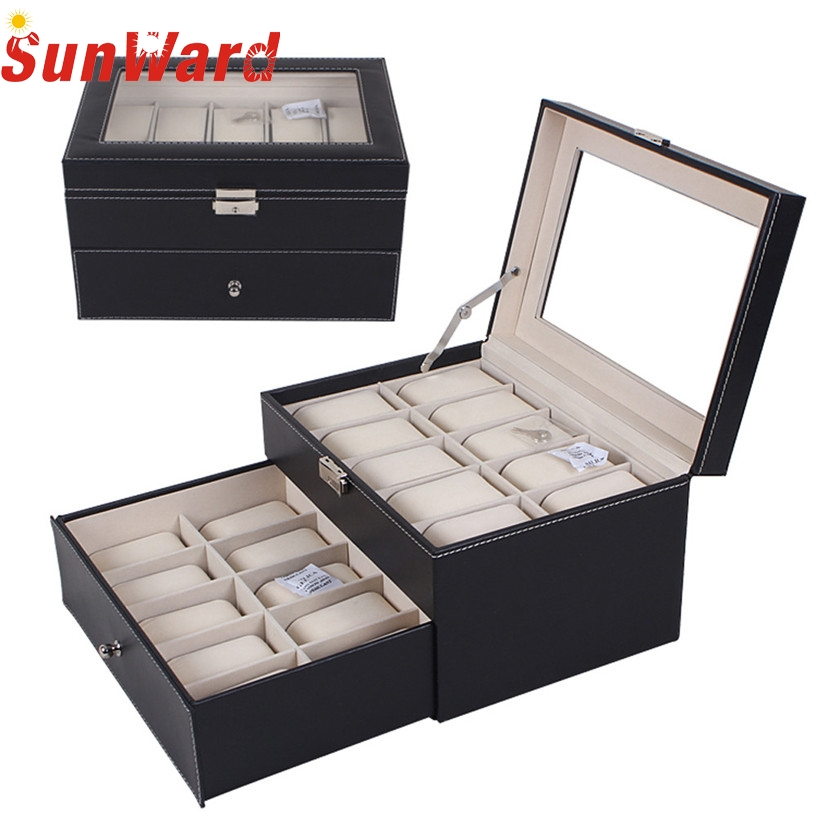 Hot sale Fabulous 20 Slot Watch Box Leather Display Case Organizer Top Glass Jewelry Storage Black Wholesale Dec02