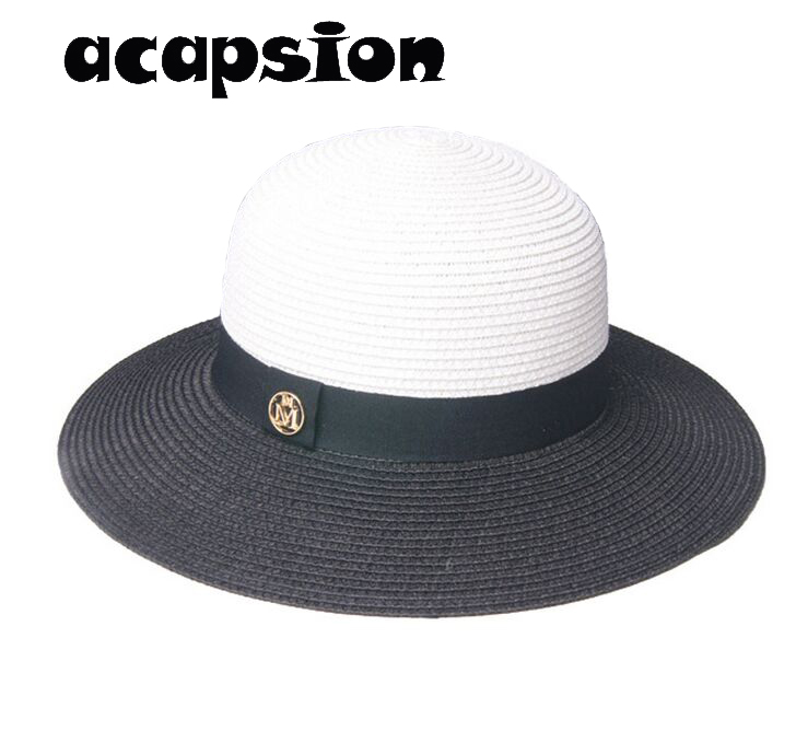 Summer Straw Hats Women Wide Brim Beach Hat Floppy Foldable UV Protection Patchwork Sun Hats For Women Elegant Summer Hat A084