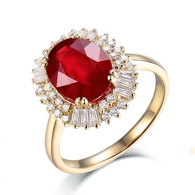 b143cefef خمر البيضاوي 8x10 ملليمتر الصلبة 14 كيلو الذهب الأصفر الطبيعي الماس روبي  خاتم الزواج خاتم الخطوبة ، حقيقية مجوهرات من الياقوت الأحمر SR002