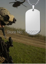 Hot sales blank  Military Army Dog Tag Men Stainless Steel Pendant Ball Bead Chain Necklace FH890203