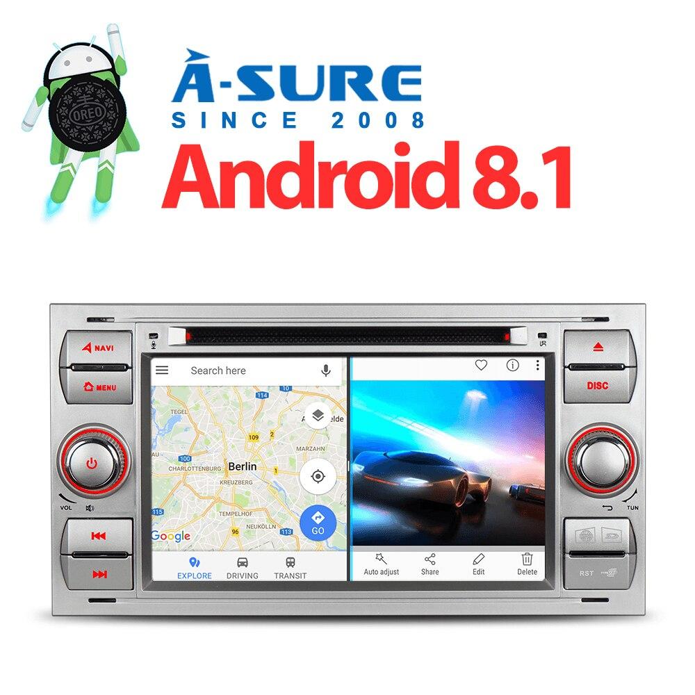 Un-Sûr 7 Android 8.1 GPS Navigation stéréo Radio DVD Orea CORE Wifi 4g pour Ford Transit galaxy Focus Mondeo Fiesta C-Max DAB +
