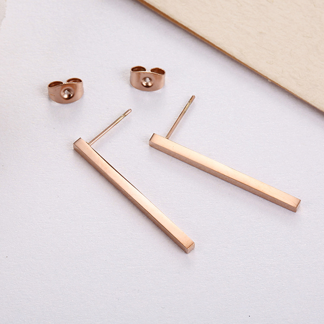 ZMZY New Simple Bar Earrings for Women Rose Gold Color Stainless Steel Geometric Square Stud Earring.jpg 640x640 - ZMZY New Simple Bar Earrings for Women Rose Gold Color Stainless Steel Geometric Square Stud Earring Jewelry Wholesale Gifts