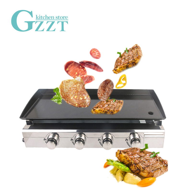 GZZT Gas BBQ Grill Gas Plancha Griddle 4 Burners Outdoor Use Stainless Housing Enamel Cooking Plate LPG Gas Griddle BBQ Tool