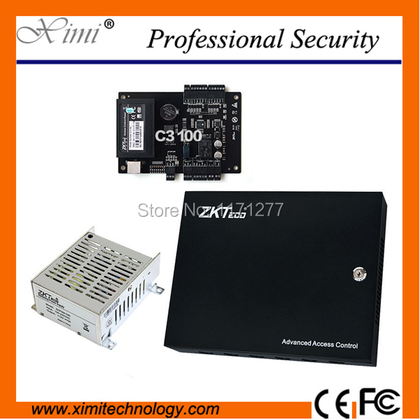 Good quality ZK C3-100 access control panel free software SDK interlock with power protect box and battery function TCP/IP zk c3 100 door access control system with battery function power supply box tcp ip 1 door access control panel with free sdk