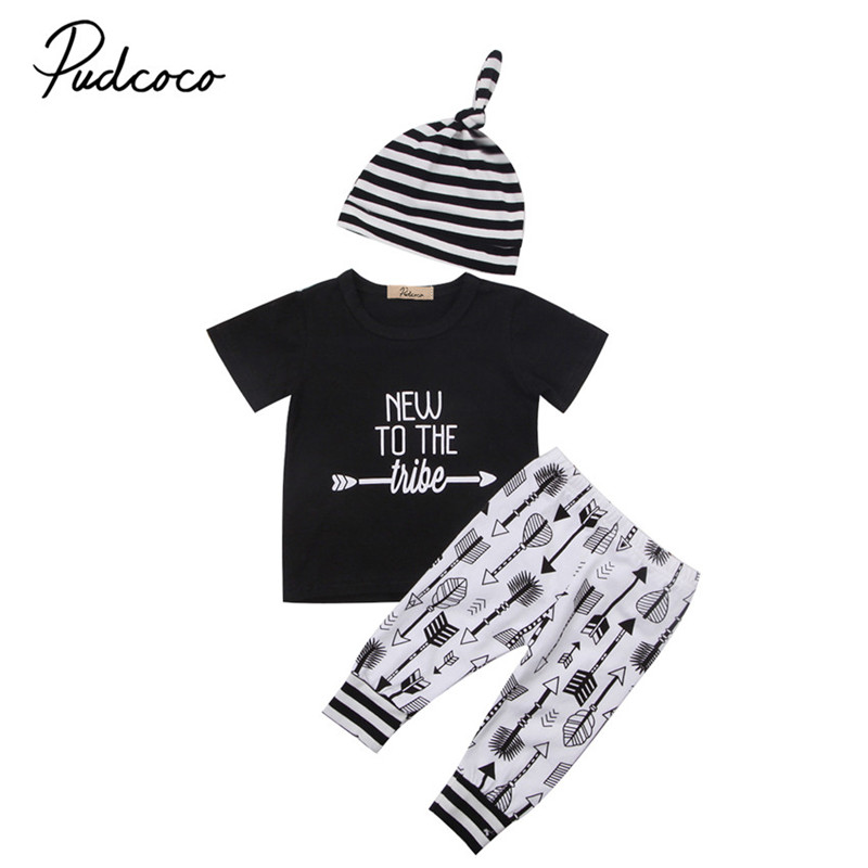 0 to 18M Newborn Baby Boy Girls Clothes Casual Cotton Short Sleeve Tops +Pants Leggings +Hat 3pcs Outfits Baby Clothing Set