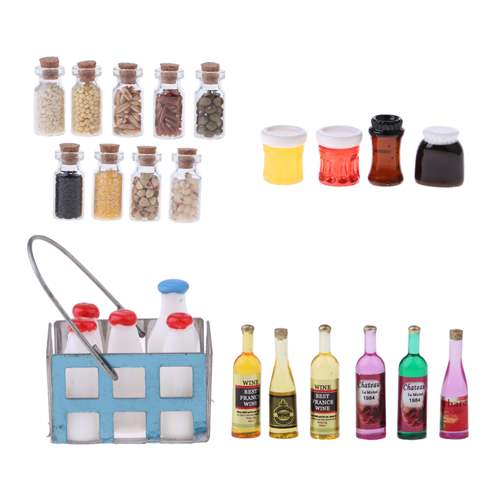 Dolls House Miniature Toy Food Drink Milk Bottle living culture szeneyrqe
