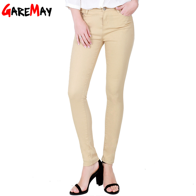 GAREMAY Women's Candy Pants Pencil Trousers 2018 Spring Fall Khaki Stretch Pants For Women Slim Ladies Jean Trousers Female 1010 5