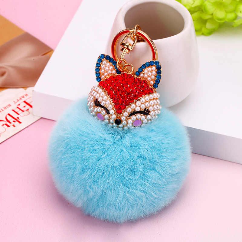 Bonito Rhinestone Fox Coelho Keychain 8 cm Rex Rabbit Fur Pom Pom Bola da Chave de Cadeia Mulheres Bolsa Pingente Charme Chique chaveiro de Presente Boutique