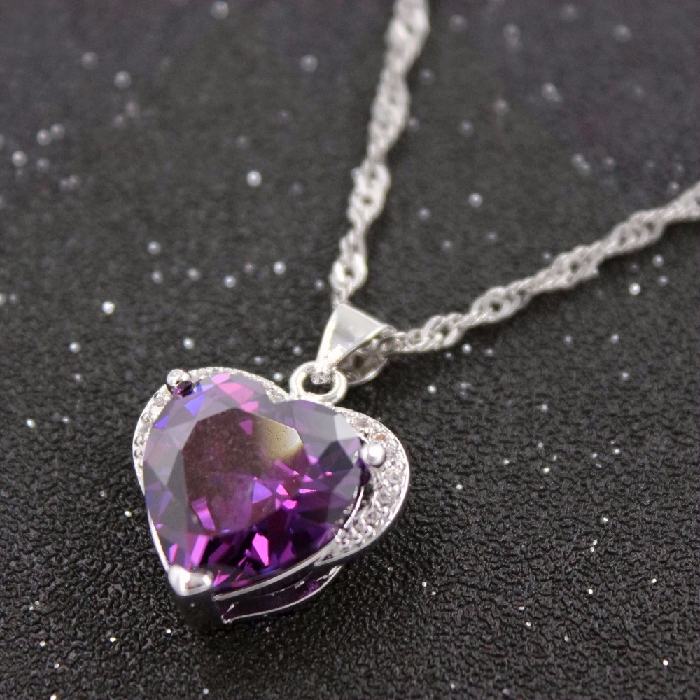 amethyst stone com dp pendant silver four genuine amazon created jewelry gemstone purple necklace sterling lab african