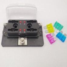 4Way Circuit Car Truck Automotive ATC ATO Blade Box Fuse Holder Kit Middle Size with LED Indicator JG30