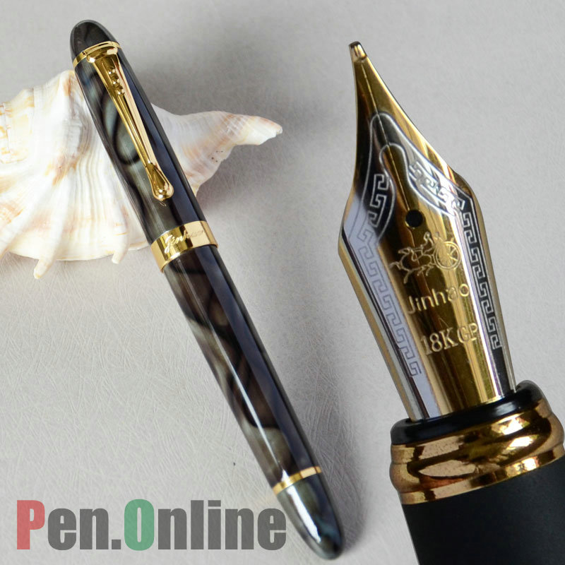 JINHAO X450 GREEN MARBLE FOUNTAIN PEN 18KGP 0.7mm BROAD NIB BLACK BLUE CORAL GREY RED WINE 21 COLOR FOR CHOOSE JINHAO 450