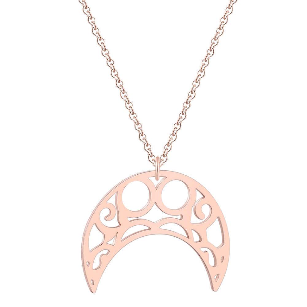 QIAMNI belle géométrique Origami croissant de lune pendentif Collier pour les femmes infini corne Collier amoureux cadeau d'anniversaire charme